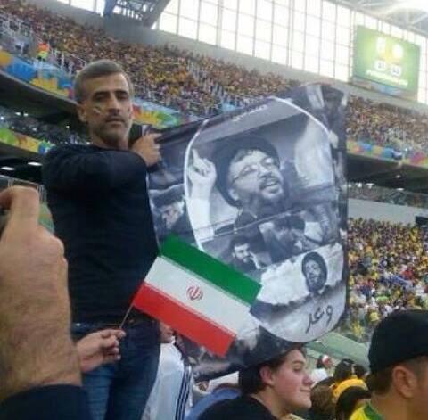 پوستر سید حسن نصر الله در بازی ایران و نیجریه(عکس)