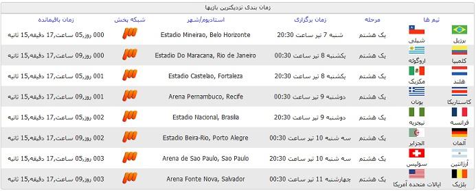 برنامه کامل بازی های جام جهانی