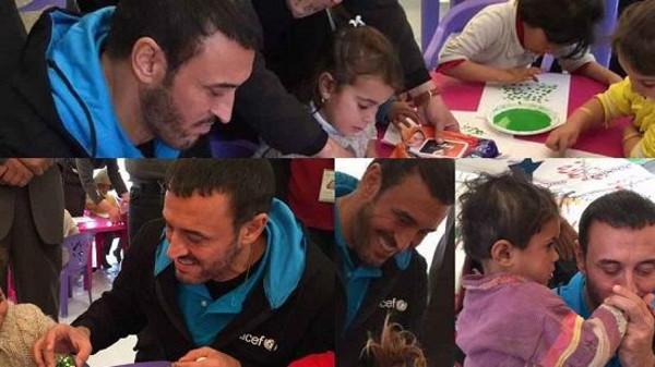 حضور خواننده معروف عرب در میان کودکان آواره (+عکس)