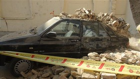 ریزش دوباره یک دیوار سنگی در دارآباد