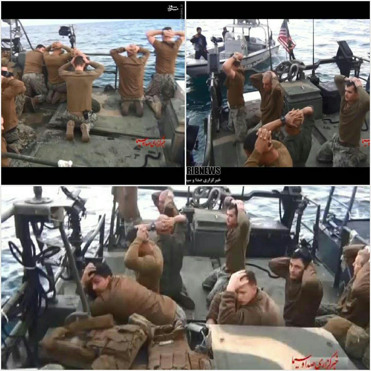 نخستین عکس از دستگیری ۱۰ تفنگدار آمریکایی توسط سپاه منتشر شد (+عکس)