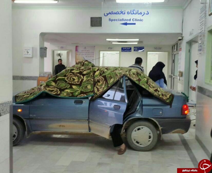 حمل نوزاد نو رسیده با ماشین به داخل بیمارستان(+عکس)