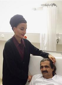 امیر سابق قطر و همسرش در بیمارستان (+عکس)