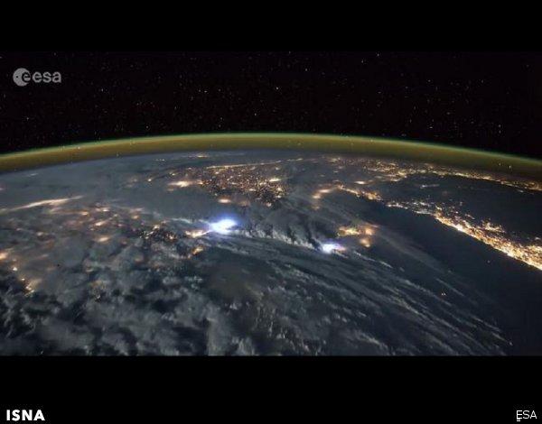 تصویر رعد و برق زمین از منظر فضا