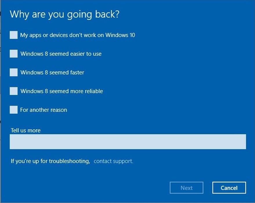 چگونه از ویندوز 10 به نسخه قبلی برگردیم؟