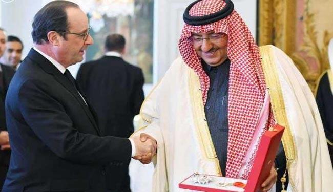 اهدای عالی ترین مدال ملی فرانسه به ولیعهد سعودی