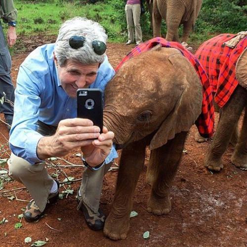 سلفی جان کری با بچه فیل (عکس)