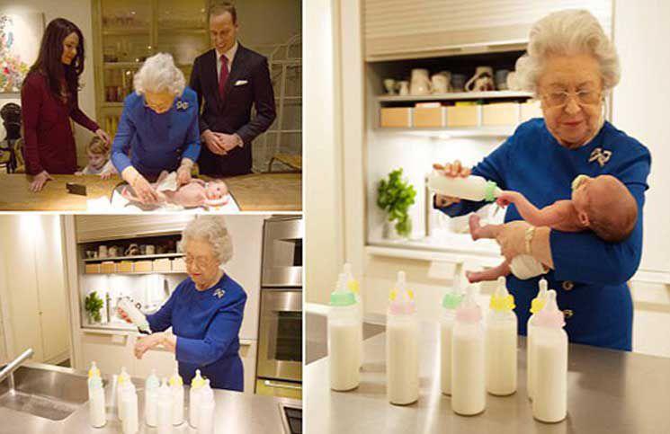 ملکه بریتانیا در حل تعویض پوشک نتیجه اش (عکس)