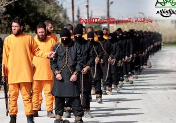 اعدام اعضای داعش به شیوه خودش!
