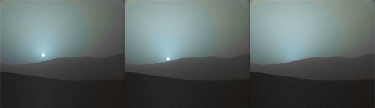 تصاویری از غروب آبی خورشید در مریخ