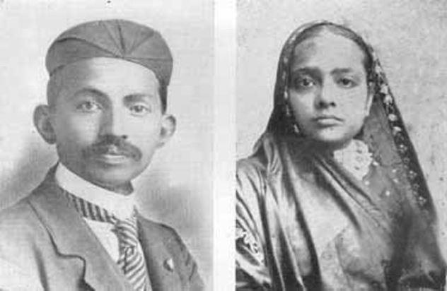 مهاتما گاندی و همسرش در جوانی (عکس)