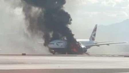 آتش گرفتن هواپیمای مسافربری انگلیسی در آمریکا