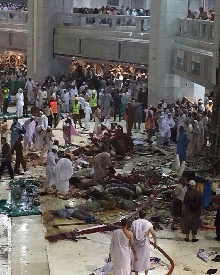 60 کشته و 30 زخمی در سقوط جرثقیل در مکه /  12 ایرانی در میان زخمی ها