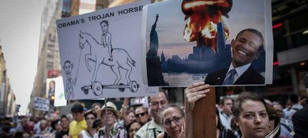 اسب تراوا در تجمع دلواپسان ایران و آمریکا (عکس)