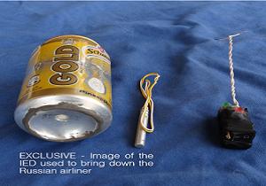 داعش تصویر بمبی که باعث انفجار هواپیمای روسیه شد را منتشر کرد (+ عکس)