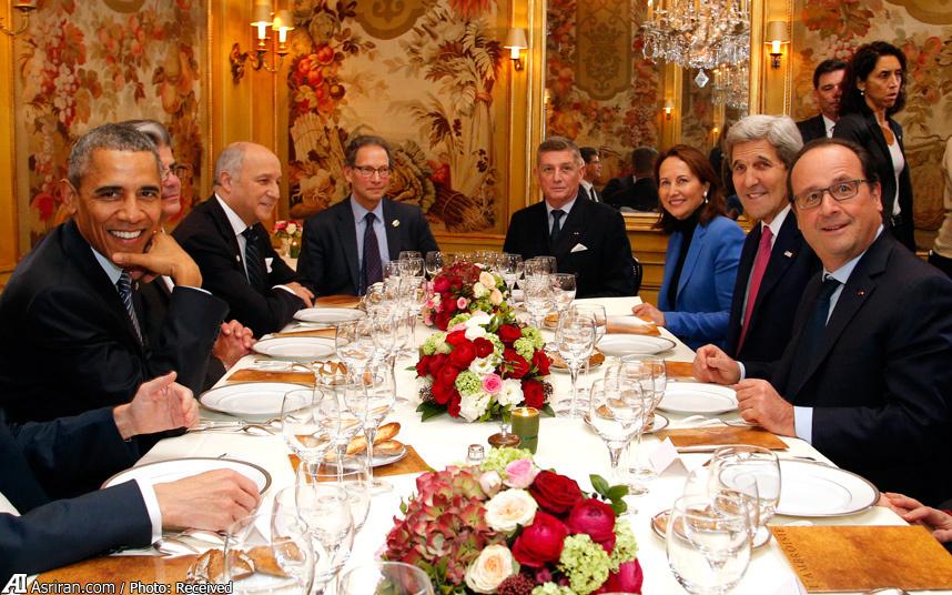 شام اولاند و اوباما در رستورانی در پاریس(عکس)