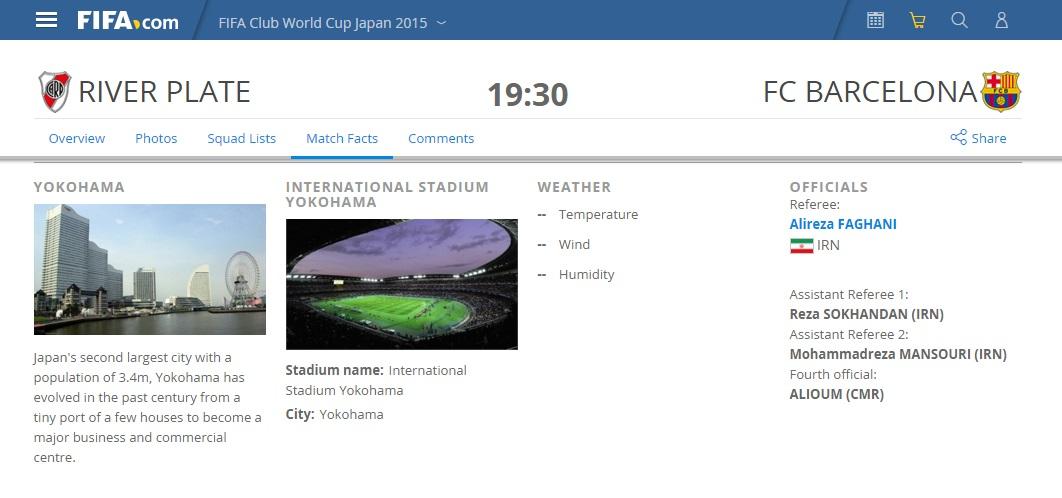فغانی داور دیدار بارسا در فینال جام باشگاه های جهان(+عکس)