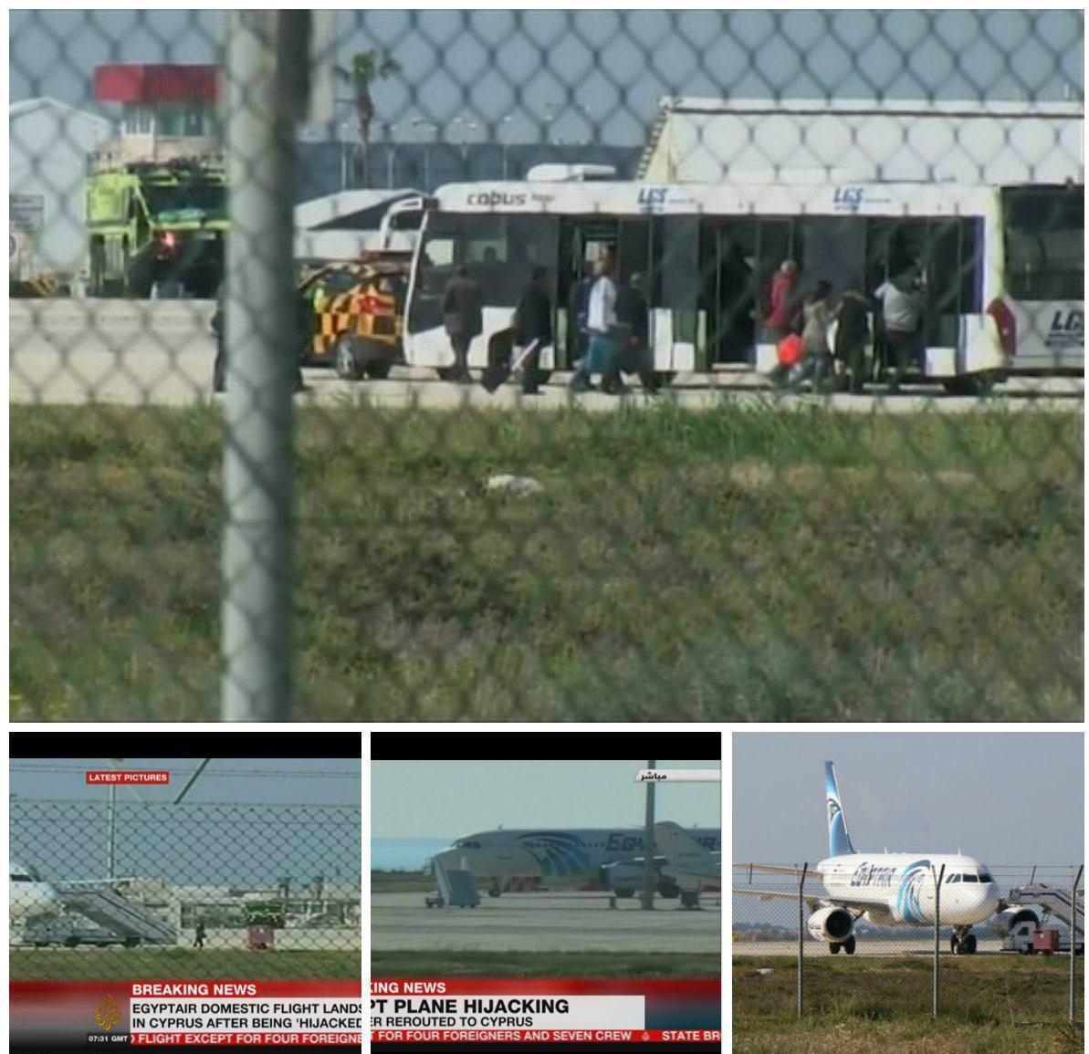 ربوده شدن یک هواپیمای مصر / هواپیما در قبرس فرود آمد / همه مسافران مصری پیاده شدند / 5 مسافر غیرمصری در هواپیما باقی ماندند / هواپیماربا درخواست پناهندگی کرد