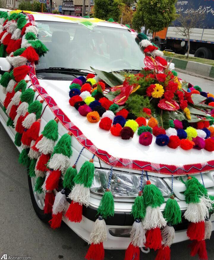 ماشین عروس زیباترین ماشین عروس تزئین ماشین عروس اخبار شیراز