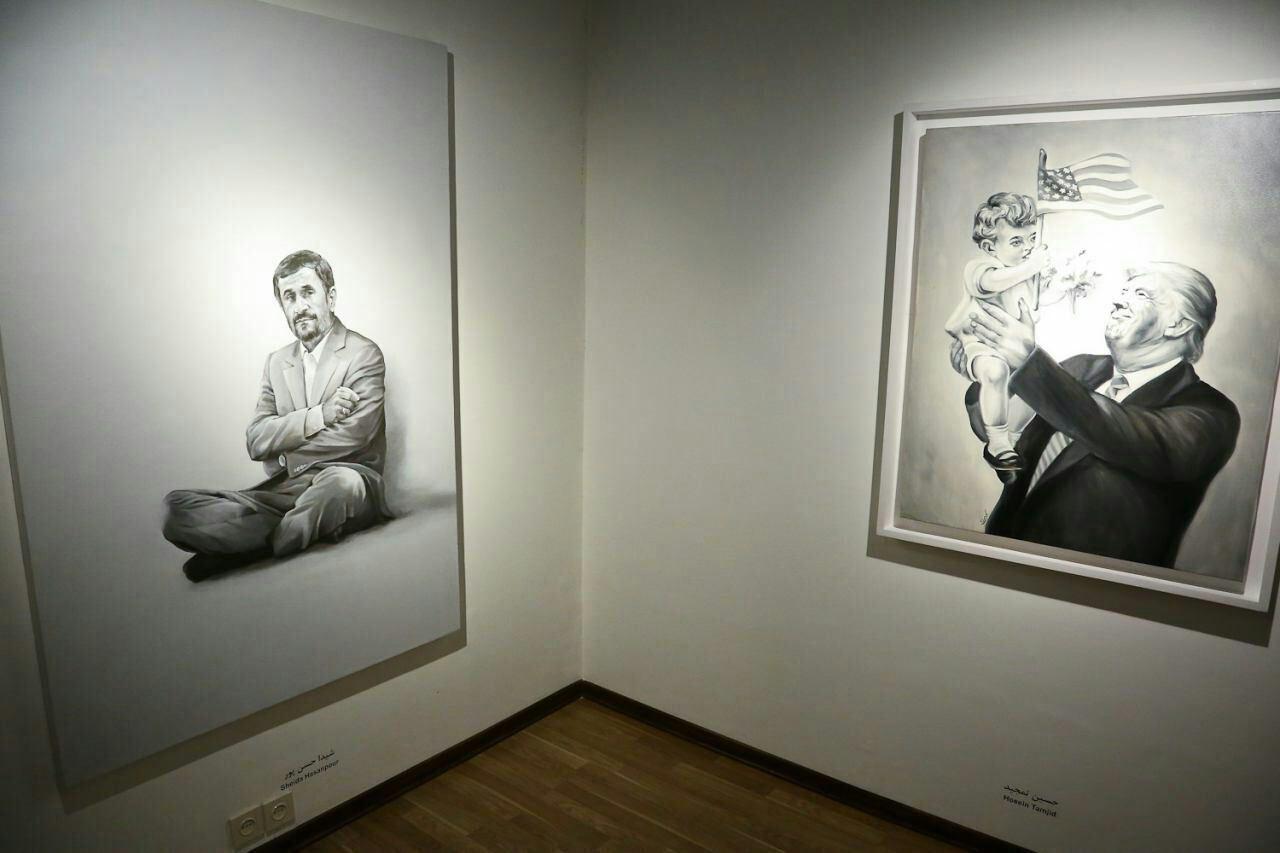 احمدینژاد و ترامپ در یک گالری در تهران (+عکس)