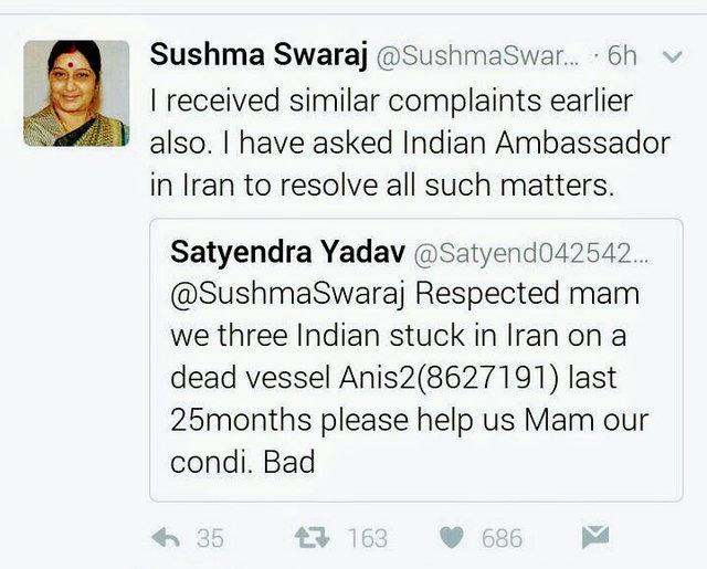 درخواست وزیر خارجه هند از سفیر کشورش در ایران