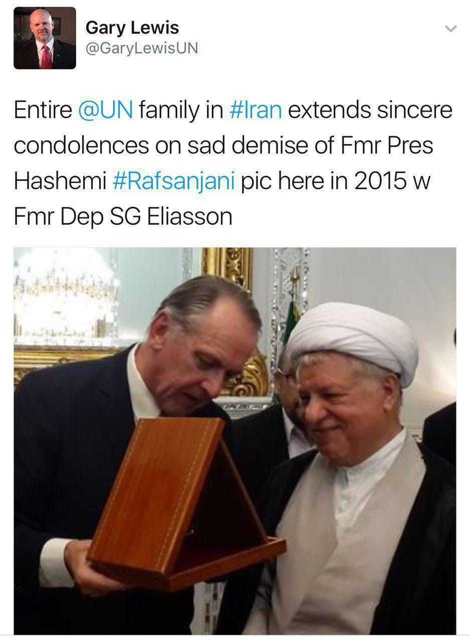 نماینده سازمان ملل درگذشت آیت الله هاشمی رفسنجانی را تسلیت گفت