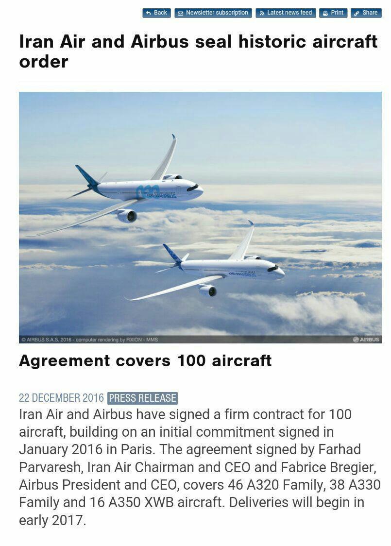 ایرباس قرارداد فروش ۱۰۰ فروند هواپیما به ایران را تائید کرد