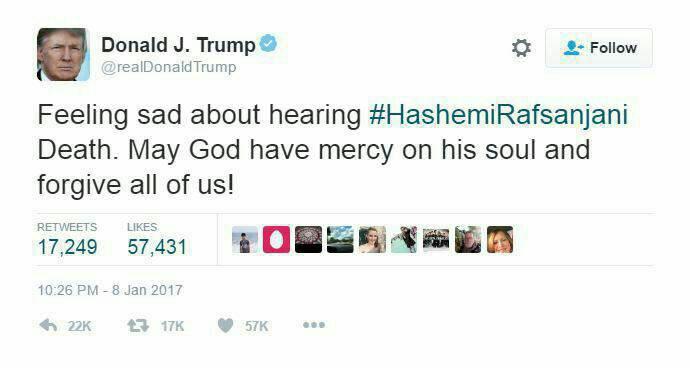 ترامپ درگذشت آیت الله رفسنجانی را تسلیت گفت