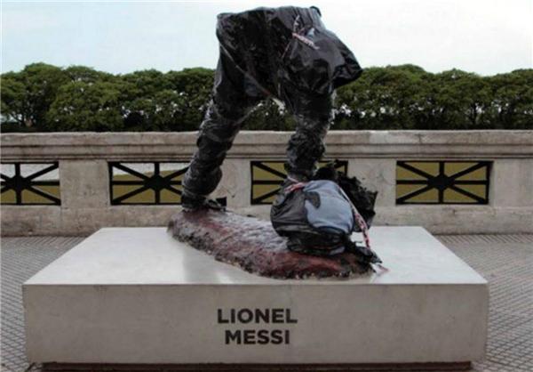 مجسمه مسی تخریب شد+عکس