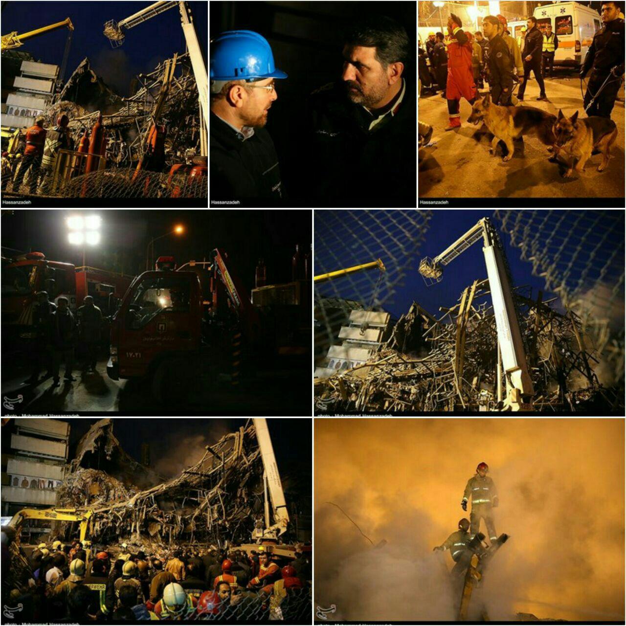 ریزش ساختمان پلاسکو (+عکس و فیلم ) / شراره های آتش در زیر آوارها / شهادت 20 آتش نشان