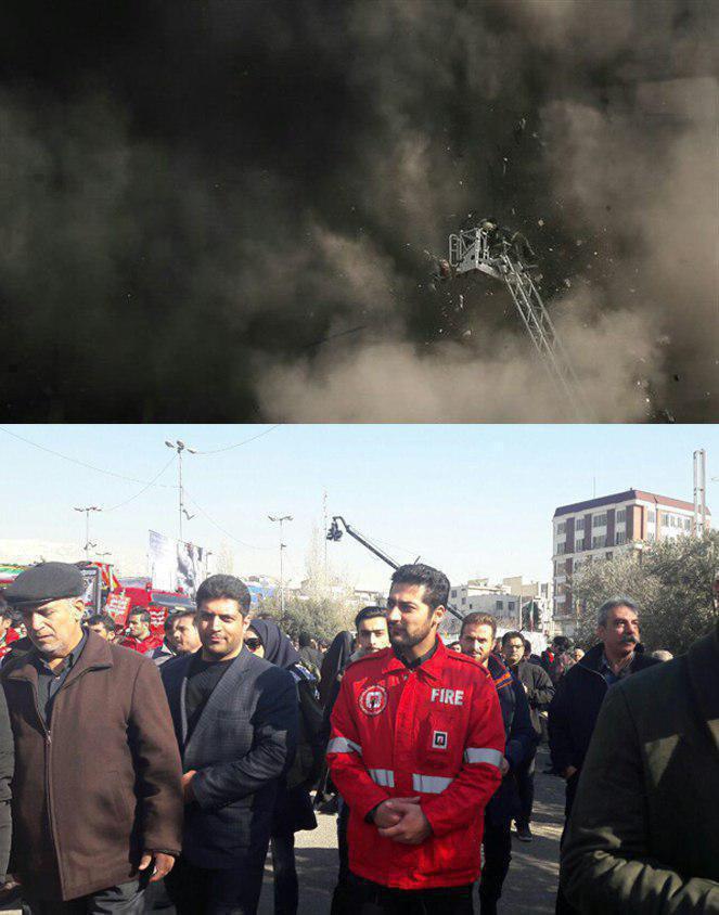 حضور آتش نشانی که به طور معجزه آسایی نجات پیدا کرد در مراسم تشییع آتش نشان (عکس)