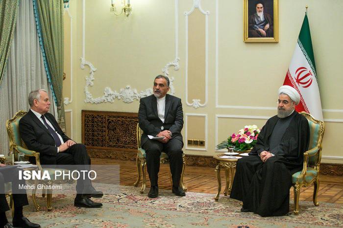 دیدار وزیر امور خارجه فرانسه با روحانی (+عکس)