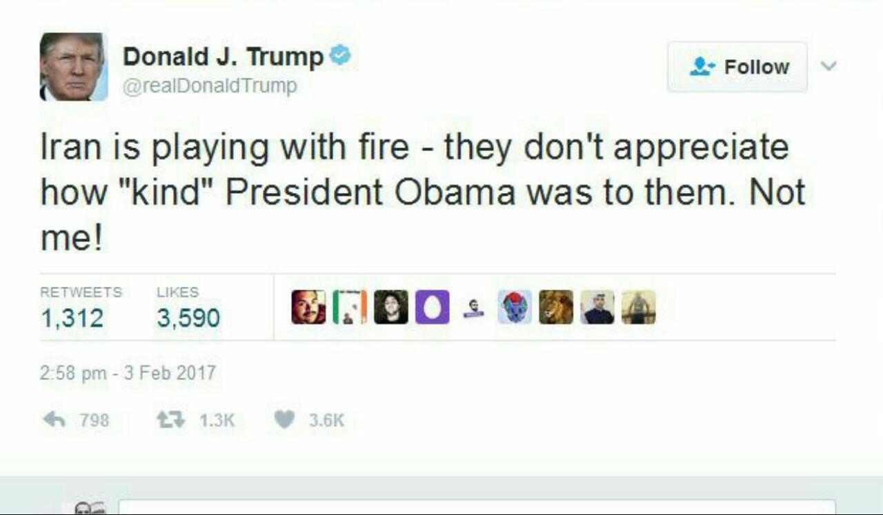 ترامپ: ایران با آتش بازی می کند/ من مثل اوباما نیستم