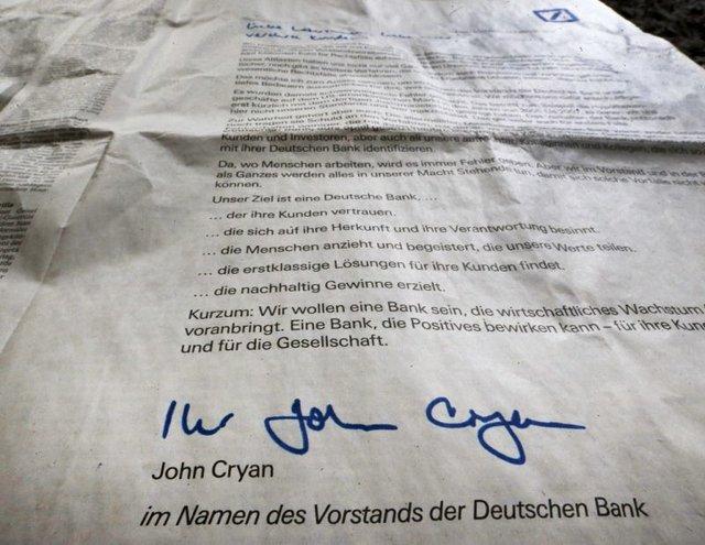 چاپ عذرخواهی دویچه بانک در روزنامههای آلمان