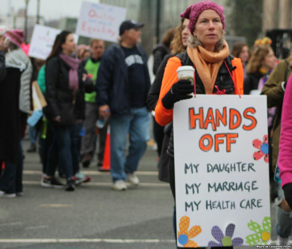 تظاهرات گسترده زنان علیه ترامپ در واشنگتن