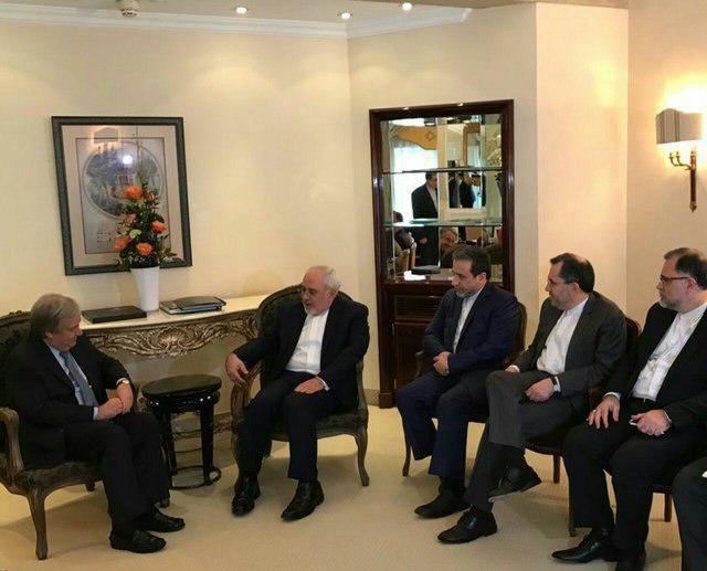 اولین دیدار ظریف با دبیرکل جدید سازمان ملل متحد