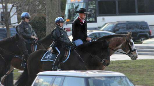 وزیر کشور جدید آمریکا با اسب راهی محل کارش شد (عکس)