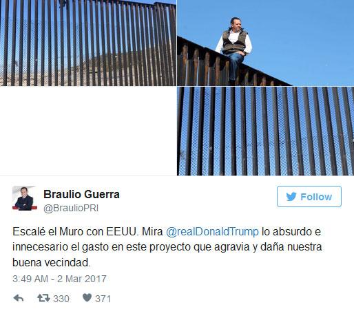 سخنرانی نماینده مکزیک علیه ترامپ از روی دیوار مرزی (+عکس)