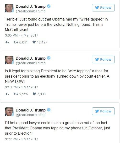 ترامپ اوباما را به شنود مکالماتش متهم کرد