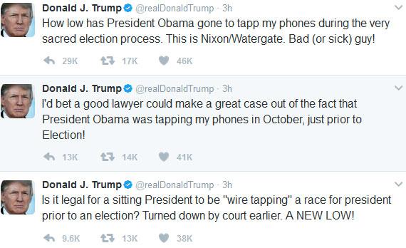 توییت بازی ترامپ علیه اوباما: او مرا شنود کرده است