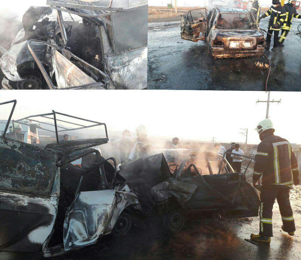 7 کشته در آتش گرفتن 2 خودرو در جاده سبزوار-اسفراین