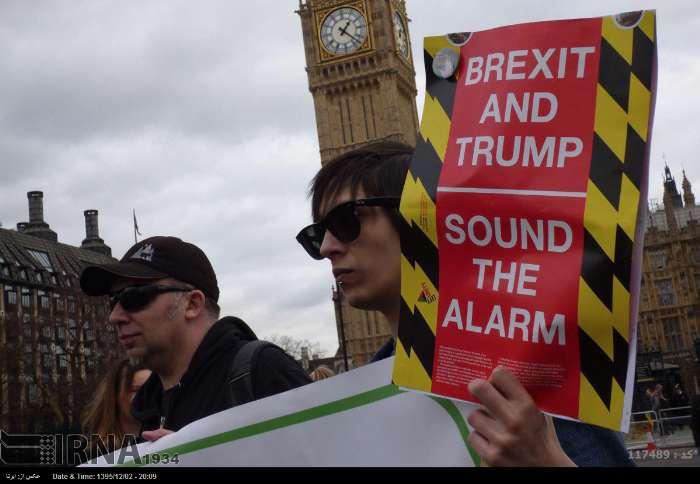 تظاهرات علیه برگزیت و سفر ترامپ در لندن (+عکس)