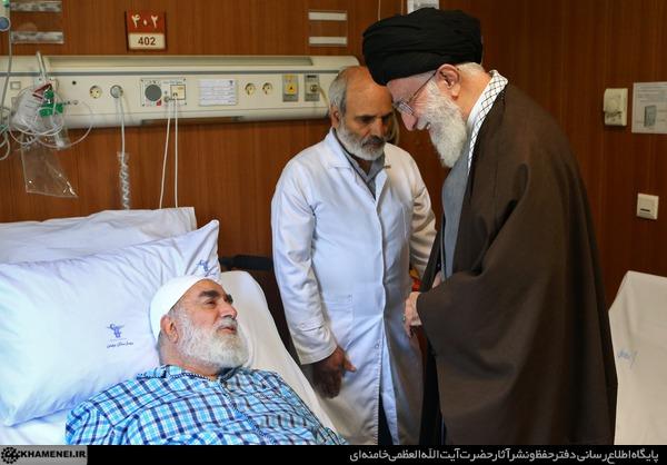 عیادت رهبر معظم انقلاب از  محمدی گلپایگانی و همسر شهید بابایی
