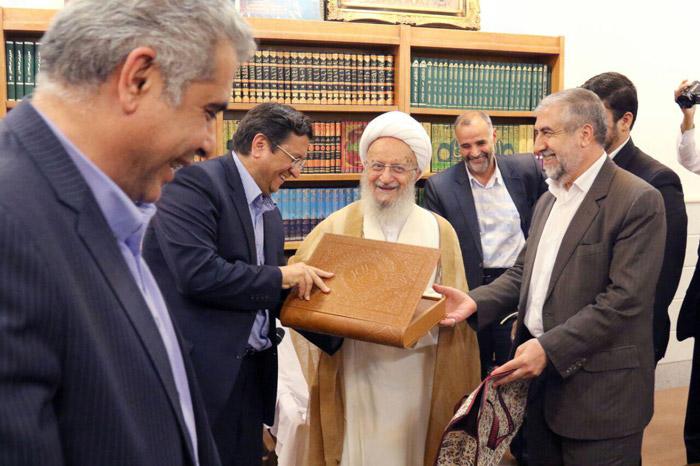 دیدار مدیر عامل بانک ملی با آیات عظام مکارم شیرازی و نوری همدانی
