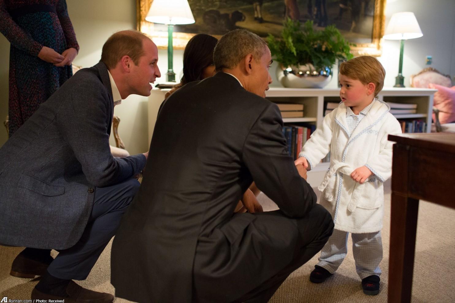 خوش و بش نشسته اوباما با شاهزاده 3 ساله انگلیس(+عکس)