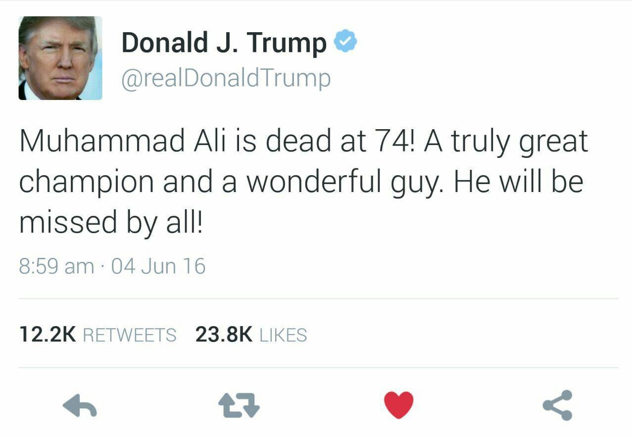 واکنش توئیتری ترامپ به درگذشت محمدعلی کلی