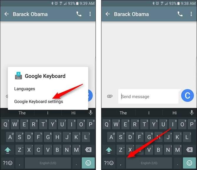 نحوه تنظیم ارتفاع کیبورد گوگل