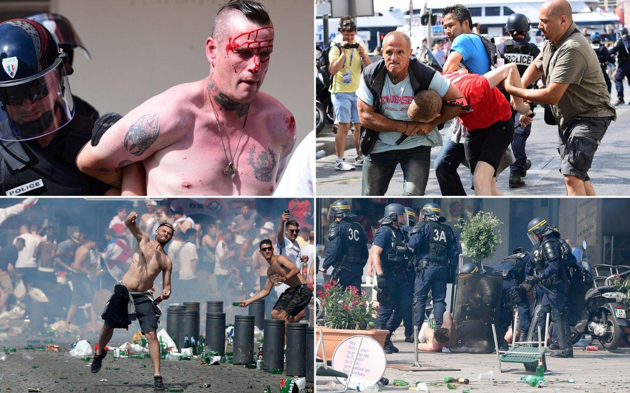 درگیری های خونین مارسی حاشیه های دیدار انگلیس-روسیه (+گزارش تصویری)