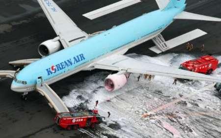 آتش سوزی در هواپیمای مسافربری کره جنوبی (+عکس)