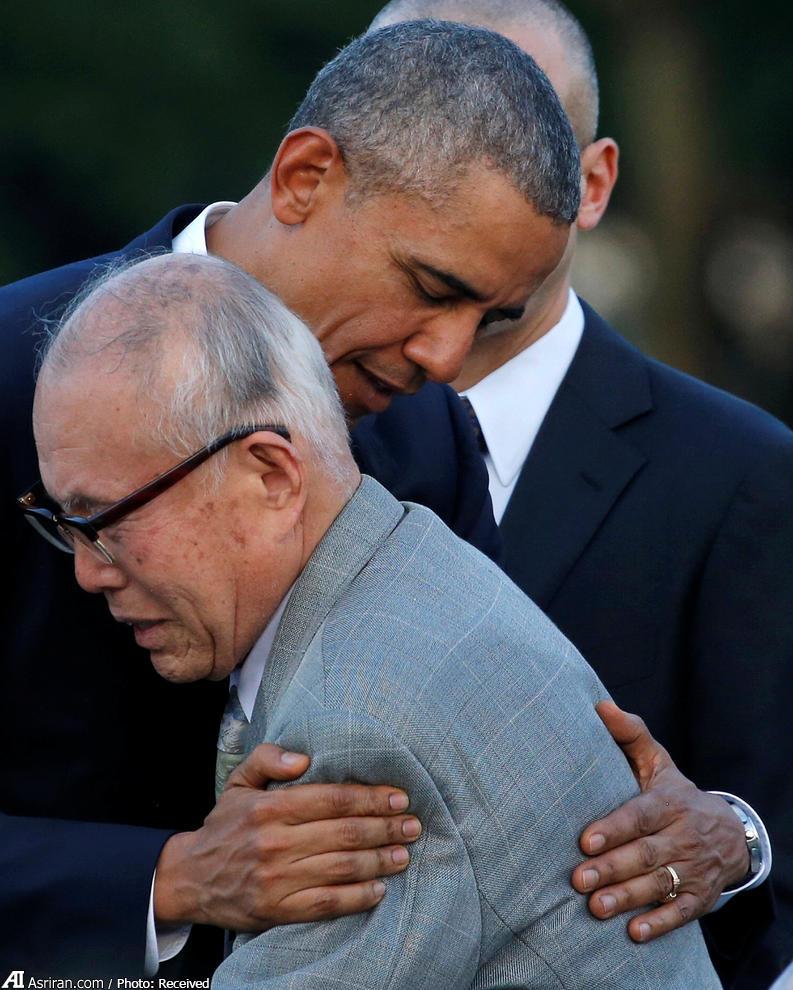 بازمانده انفجار اتمی هیروشیما در آغوش اوباما (عکس)